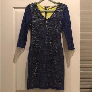 Blue 3/4 sleeve bodycon dress
